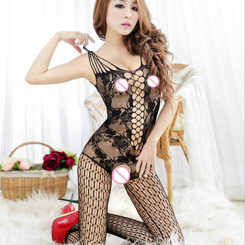 Sexy lingerie lace temptation perspective Transparent hollow out Mesh cloth erotic lingerie costume Women sex products