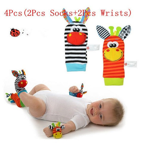 4Pcs(2Pcs Socks+2Pcs Wrists)Hot New Infant Baby Kids Sock And Wrist Rattles Cute Intellectual Developmental Toys Animal