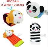 4Pcs(2Pcs Socks+2Pcs Wrists)Hot New Infant Baby Kids Sock And Wrist Rattles Cute Intellectual Developmental Toys Animal - Anippe