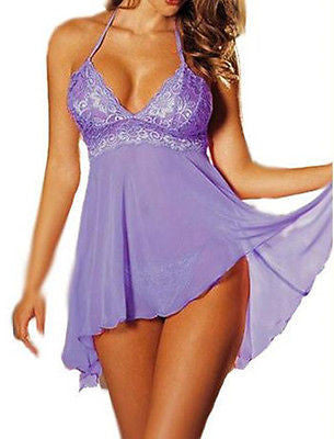SEXY Sheer Purple Baby doll Lingerie Nighty Plus Size AU