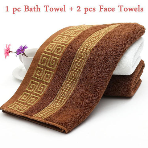 Luxury Cotton Embriodered 3 PC Bath Towels Set