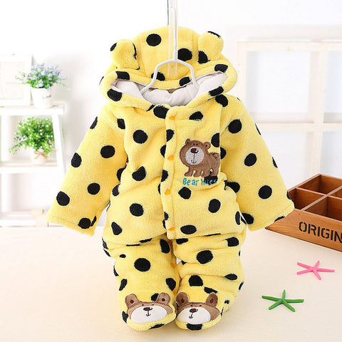 Autumn Winter Cotton Polyester Baby Romper Long Sleeve Coverall Hooded Infant Jumpsuit with Bear Logo One Piece for Toodler