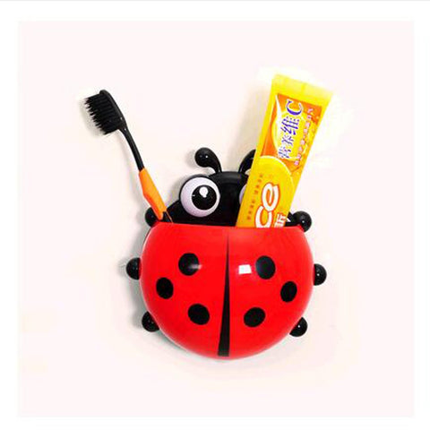 New Hot 4 colors cute ladybug cartoon sucker toothbrush holder hooks / items for home suction / brush rack / bath set  SW10