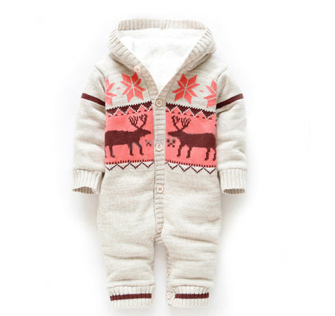 Baby Rompers Winter Thick Climbing Clothes Newborn Boys Girls Warm Romper Knitted Sweater Christmas Deer Hooded Outwear CL0491