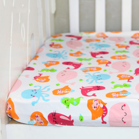 100% Cotton Newborn Baby Crib Fitted Sheet Soft Baby Bed Mattress Cover Protector Cartoon Newborn Bedding
