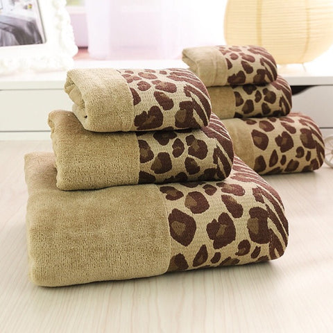 Luxury 3 Pc Cotton Leopard - print pattern Bath Towels Set
