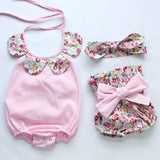 Baby toddler summer baby girls vintage floral ruffle neck romper cloth with bow knot shorts headband - Anippe