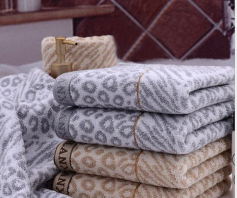 High Quality 34*75cm Hair Towel  Leopard Cotton Untwisted Yarn-dyed Jacquard Towel Brown, Grey Quick-Dry Towels  Toallas