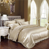 Impact Drill Light Gold Bedding Elegant Gifts for Family Quilt Cover Plain Bed Linen Hot Sheet 4Pcs Queen King - Anippe