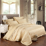 Impact Drill Light Gold Bedding Elegant Gifts for Family Quilt Cover Plain Bed Linen Hot Sheet 4Pcs Queen King