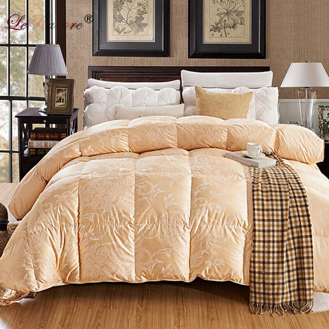 Luxury Goose Down Quilt Duvet Queen King Size White/Pink/Silver/Golden Luxury Winter Blanket Comforter