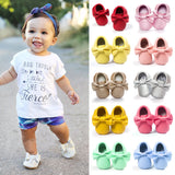 Handmade Soft Bottom Fashion Tassels Baby Moccasin Newborn Babies Shoes 14-colors PU leather Prewalkers Boots - Anippe