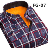 Men's Fashion Slim Shirts Autumn And Winter Thickening Warm Plaid - Anippe