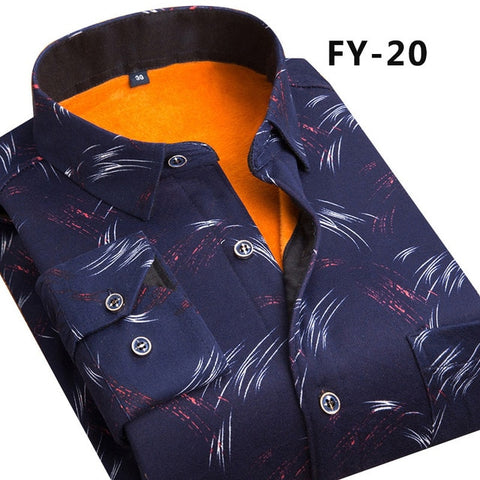 Men's Fashion Slim Shirts Autumn And Winter Thickening Warm Plaid