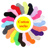 Children Cotton Socks For Girls Cute Candy Color Short Socks Spring Autumn Boy White Sport Socks Kid Black Sock 10pcs=5pairs/lot