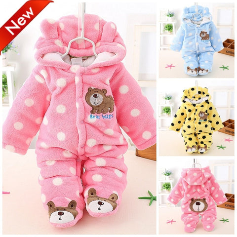 Newborn Baby Girls Clothing Coral Fleece Winter Boy Rompers Cartoon Infant Clothes Meninas Bear Down Snowsuit Babies Jumpsuits