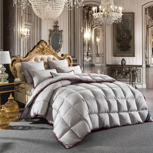 white Goose Down Duvet 3D quilted Quilt king queen twin full double size Comforter Winter Thick Blanket Bedding Filler