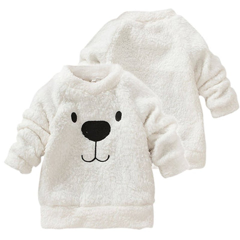Children Baby Clothing Boys Girls Lovely Bear Furry White Coat Thick Sweater Coat