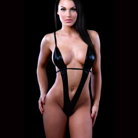 women's plus size sexy lingerie hot black leather erotic lingerie teddy sexy underwear sexy costumes lenceria sexy
