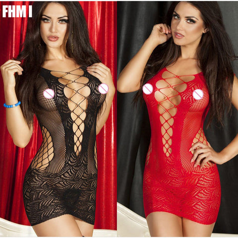 Sexy Lingerie Hot Mesh Hollow Baby Doll Dress  Erotic Lingerie Black Red Women sexy costumes cotton sexy underwear