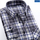 Men's Flannel Plaid Shirt 100% Cotton Spring Autumn Casual Long Sleeve Shirt Soft Comfort Slim Fit Styles Brand Man Clothes - Anippe