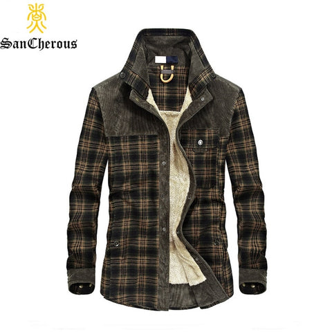 Men's 100% Cotton Liner Casual Shirts Outerwear Plaid Thick Wool Liner Autumn Winter Shirt