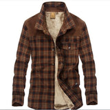 Men's 100% Cotton Liner Casual Shirts Outerwear Plaid Thick Wool Liner Autumn Winter Shirt - Anippe