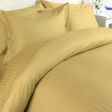 Luxury 1000 TC 100% Egyptian Cotton Queen Sheet Set Striped In Gold - Anippe
