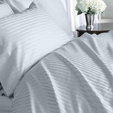 Luxury 1000 TC 100% Egyptian Cotton Queen Sheet Set Striped In Lt Blue - Anippe
