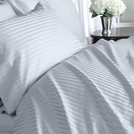 Luxury 1000 TC 100% Egyptian Cotton Queen Sheet Set Striped In Lt Blue