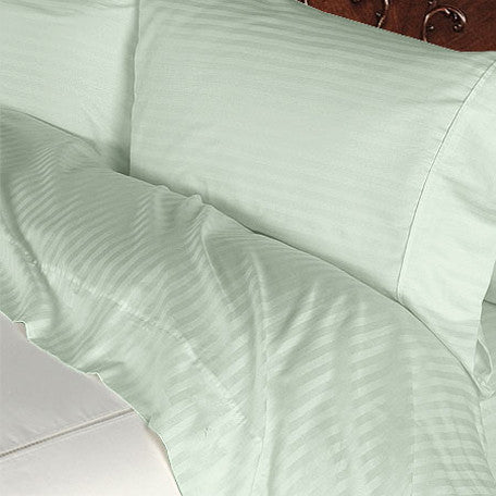 Luxury 1000 TC 100% Egyptian Cotton Queen Sheet Set Striped In Sage