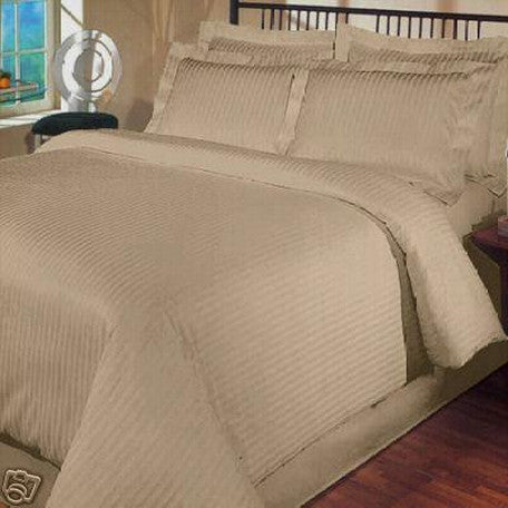 Luxury 1000TC 100% Egyptian Cotton Duvet Cover - King/Cal King Striped in Taupe