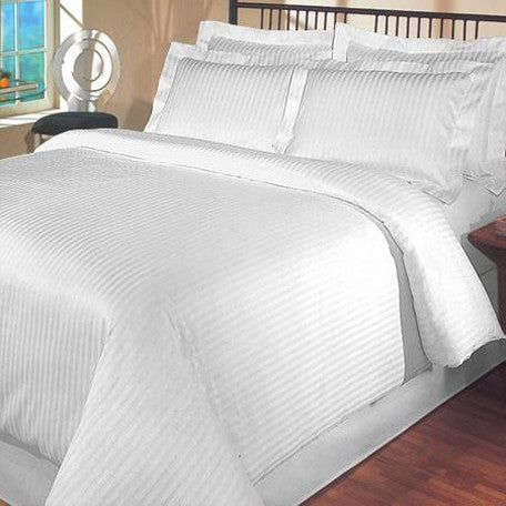 Luxury 1000TC 100% Egyptian Cotton Duvet Cover - King/Cal King Striped in White