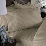 Two Luxury 800 TC King Size Pillow Cases striped in Beige - Anippe