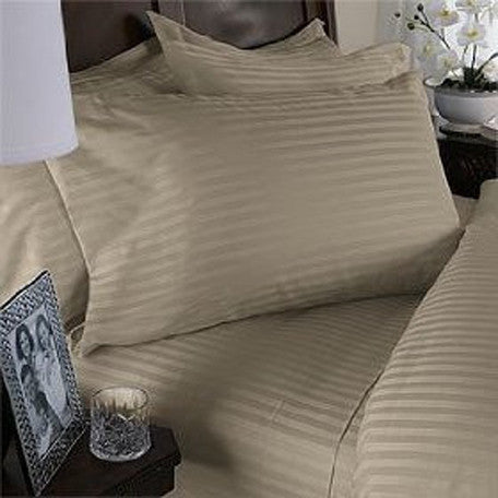 Two Luxury 800 TC King Size Pillow Cases striped in Beige