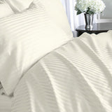 Luxury 1000 TC 100% Egyptian Cotton California King Sheet Set Striped In Ivory/Cream - Anippe
