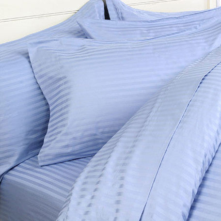 Two Luxury 800 TC King Size Pillow Cases striped in Lt Blue