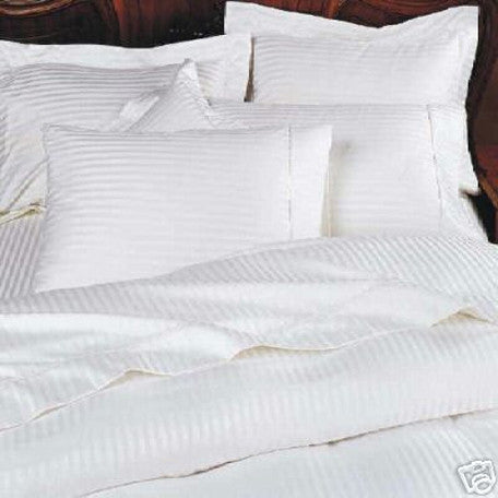 Luxury 1000 TC 100% Egyptian Cotton King Sheet Set Striped In White