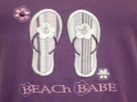 Beach Babe 100% Pure Egyptian Cotton Pajama In Purple