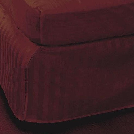 Luxury 300TC 100% Pure Egyptian Cotton Striped Bed Skirt in Burgundy