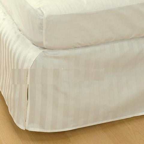 Luxury 300TC 100% Pure Egyptian Cotton Striped Bed Skirt in Ivory/Cream