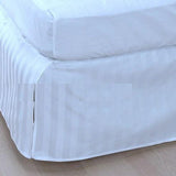 Luxury 300TC 100% Pure Egyptian Cotton Striped Bed Skirt in Light Blue