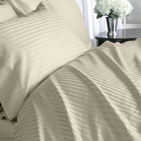 Luxury 600 Thread 100% Egyptian Cotton Full Sheet Set Striped In Beige