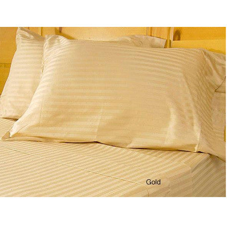 Luxury 600 Thread Egyptian Cotton Full Size Sheet Set Striped In Gold