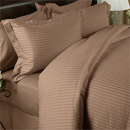 Luxury 600 Thread 100% Egyptian Cotton Full Sheet Set Striped In Taupe