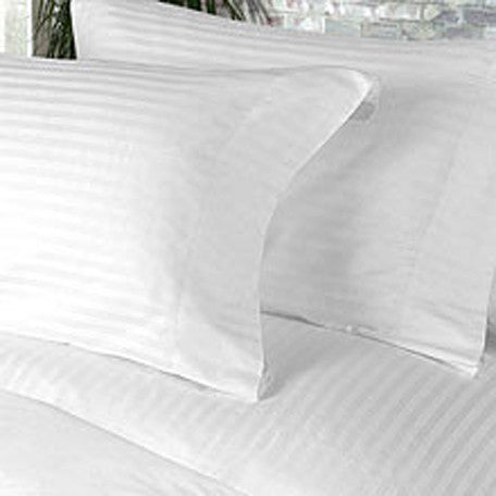 Luxury 800 TC 100% Egyptian Cotton Queen Sheet Set Striped In White