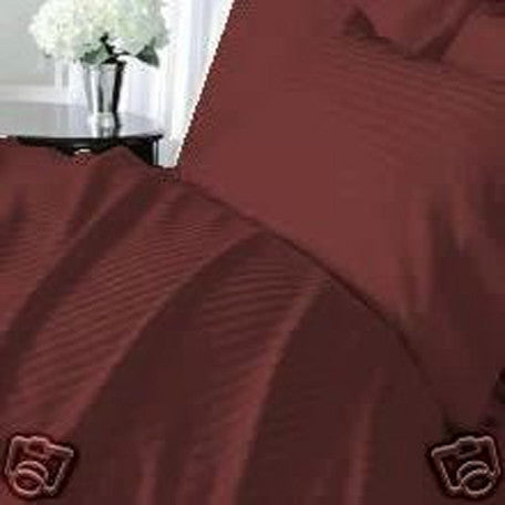 Luxury 300 TC 100% Pure Egyptian Cotton Twin Sheets Set Striped in Burgundy