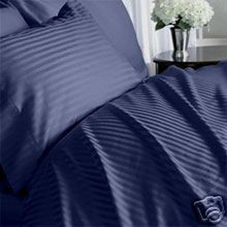 Luxury 300 TC 100% Pure Egyptian Cotton Twin Sheets Set Striped in Navy