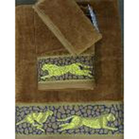 3 PC Luxurious 100% Egyptian Cotton Velour Towel set in leopard Brown
