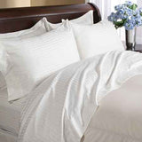 Luxury 600 Thread Count 100% Egyptian Cotton Queen Sheet Set Striped In Ivory/Cream